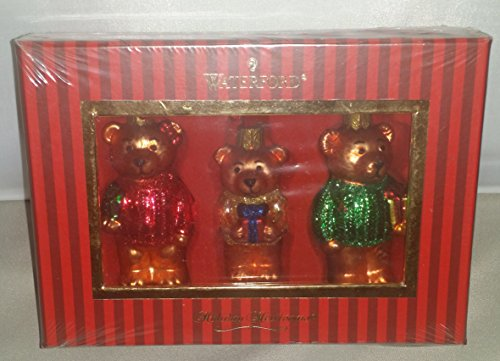 Waterford Set of 3 Christmas Teddy Bear Ornaments