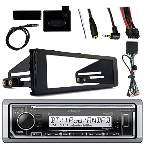 Kenwood Marine Radio Stereo Bluetooth Receiver Bundle, 1998 2013 Harley Davidson Motorcycle Touring Flht Flhx Flhtc, Adapter Install Dash Kit, Handle Bar Control, Enrock Wire Antenna Dash Handle