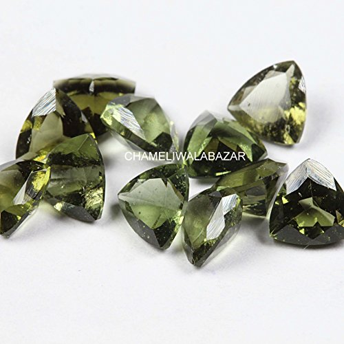 Review Natural Moldavite 8mm Faceted