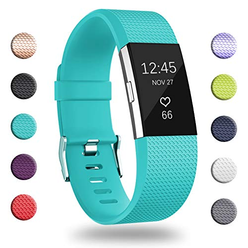 GEAK for Fitbit Charge 2 Bands, Adjustable Replacement Sport Accessory Strap Bands for Fitbit Charge 2, Small Classic-Teal