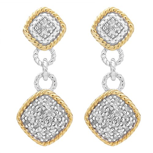 Two Tone Sterling Silver 1/2 ct TDW Diamond Dangling Fashion Earring