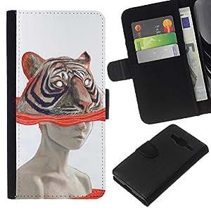 A-type (Art Woman Drawing Watercolor) Colorida Impresión Funda Cuero Monedero Caja Bolsa Cubierta Caja Piel Card Slots Para Samsung Galaxy Core Prime