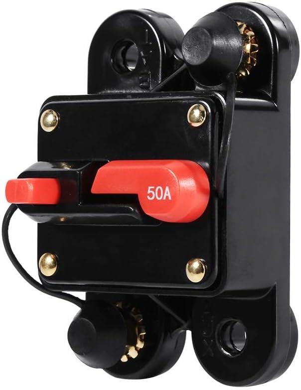 100Amp Interruptor autom/ático Reiniciar Portafusible Portafusible del barco del autom/óvil Impermeable 12-24V Nuevo 50Amp Yctze Portafusible de reinicio del autom/óvil 50A