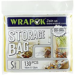 "WRAPOK 6.4""x4.7"" Reclosable Storage Bags Freezer Bag Food Snake Ziplock Bag 130 Counts"