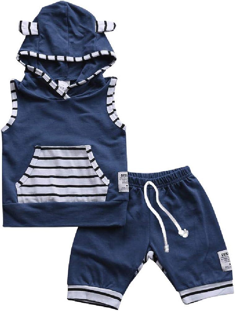 Outfit f/ür den Sommer /ärmellos Fuchsohren M/ädchen kurze Hose gestreift Jungen Baby-Kleidungs-Set f/ür Kleinkinder Kapuzenpullover mit Tasche