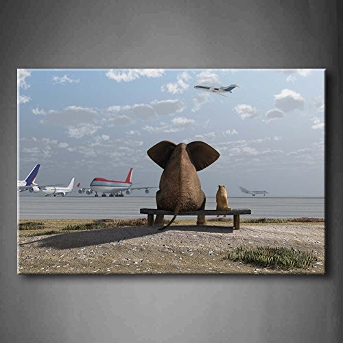 First Wall Art - Elephant And Dog Sitting At The Airport Wall Art Painting The Picture Print On Canvas Animal Pictures For Home Decor Decoration Gift (Stretched By Wooden Frame,Ready To Hang) by Firstwallart