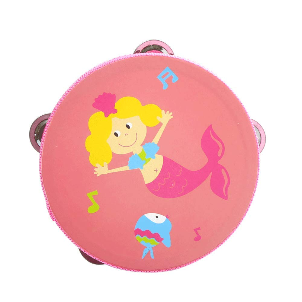 Giocattolo per Bambini Tambourine Insegnante di Scuola Materna con tamburello Baby Hand Drums in Legno Baby Hand Shake Early Education Ragazzi e Ragazze Musical Toys (colore   rosa)