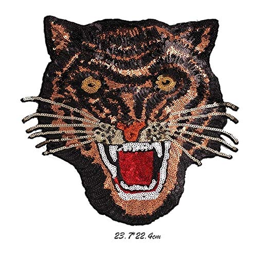 MOJITO LIVING Hot Sell Sequin Embroidered Patch Iron on Large Yellow Tiger Head Leopard Motor Jacket T-shirt Sewing For Clothing Patches New