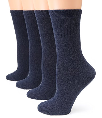 MIRMARU Women's 4 Pairs Lightweight Ribbed knitted Soft Cotton Casual Crew Socks (Navy)