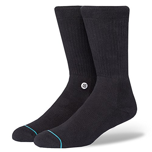 Stance Men's Icon Classic Crew Socks, Black/White, Large (Shoe: 9-12) from Stance