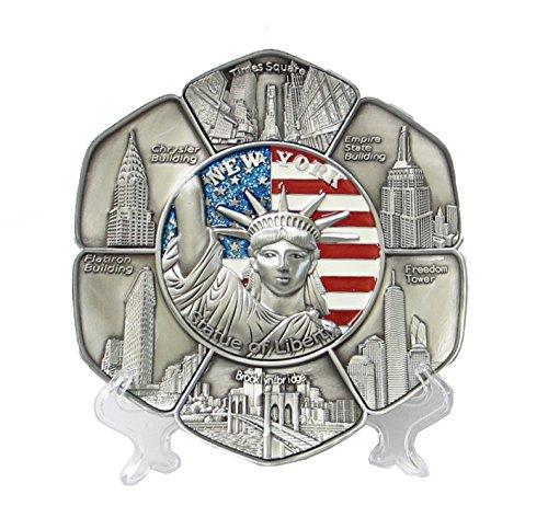 New York Souvenir Metal Plate with Statue of Liberty Manhattan Empire State Building Brooklyn Bridge 6 Inches Diameter