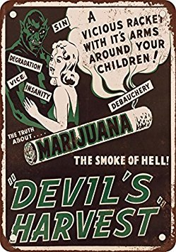 1942 Marijuana Devil's Harvest Vintage Look Reproduction Metal Tin Sign 8X12 Inches