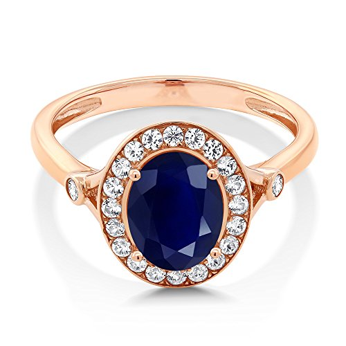 Rose Ring Sapphire (10K Rose Gold Oval Blue Sapphire & White Created Sapphire Women's Ring (2.86 Ctw (Size 7))