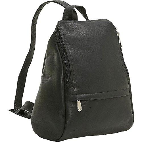 - LeDonne Vacquetta Leather U-Zip Mini Backpack, Black