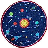 JACKSON Non Slip Kids Play Rug Early Education Children Carpet Washable Microfiber Fun Area Soft Floor Mat with Non-Skid Rubber Backing 32 Round Multi-Color (SOLAR SYSTEM)
