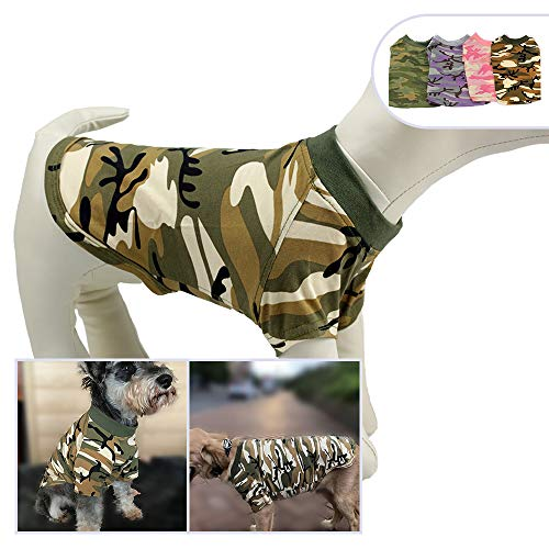 Pink Army Costume (Lovelonglong Pet Apparel Dog Clothes Camouflage Summer Spring T-Shirt Tee Shirts for Small Middle Large Size Dogs 100% Cotton Pink Green Purple Dog Costumes Camouflage Clothing (XXL,)