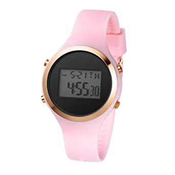 Girls Womens Digital Watch Sport Jelly Resin Strap Girls Wristwatch with Alarm Stopwatch (Pink-