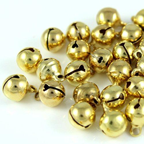 100x Glöckchen Schellen Glocken aus Kupfer - 11x7 mm - Kleenes Traumhandel® (Gold Farbend)