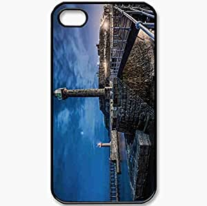 Protective Case Back Cover For iPhone 4 4S Case Wharf Landscape Black