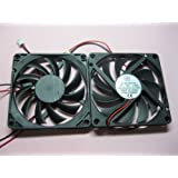 2 pcs Brushless DC Cooling Fan 12V 8010S 11 Blades 2 wire 80x80x10mm Sleeve-bearing Skywalking