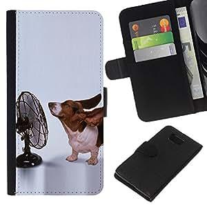 eJoy---La carpeta del tirón la caja de cuero de alta calidad de la PU Caso protector - Samsung ALPHA G850 - --Basset Hound Funny Small Dog Ears