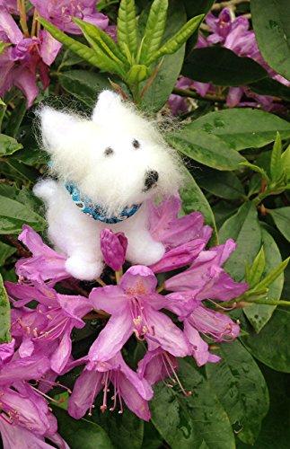 Small Westie (West Highland White Terrier) figurine, wearing a blue bandana Miniature West Highland White Terrier