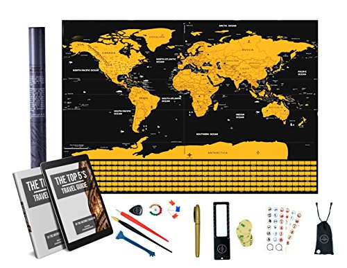 Scratch Off World Map in Gold With Flags - 32 x 23 Inches -