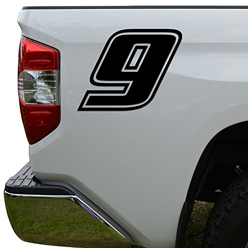 (Racing Race Number 9 Nine Style 4 Die Cut Vinyl Decal Sticker For Go Kart Car Truck Motorcycle Window Bumper Wall Decor Size- [8 inch/20 cm] Tall Color- Matte Black)