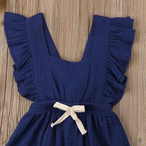 Greal 2019 New Cute Infant Baby Girls Sleeveless Color Solid Ruffles Backcross Romper Bodysuit Outfits Set Dark Blue by G-real-Girls Outfits (Image #5)