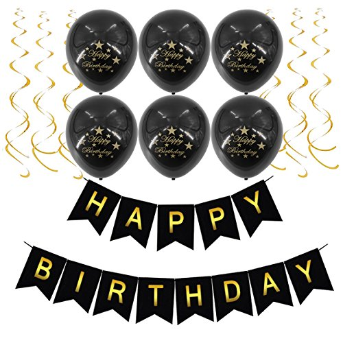 Black Happy Birthday Banner, Latex Balloons and Gold Hanging Swirl for 1st - 21st - 30th - 40th - 50th - 60th - 70th - 80th Birthday Party Supplies Decorations -