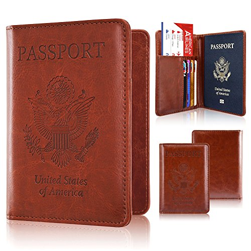 Passport Holder Case, ACdream Protective Premium PU Leather RFID Blocking Wallet Case for Passport, Brown