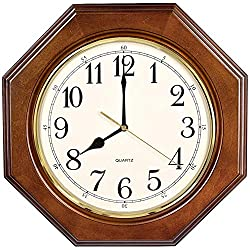 SED Wall Clocks Living Room Simple Non Ticking Battery Operated European Vintage Decorative Silent Quartz Bedroom Retro Solid Wood Octagon Clocks Personality Wall Decoration