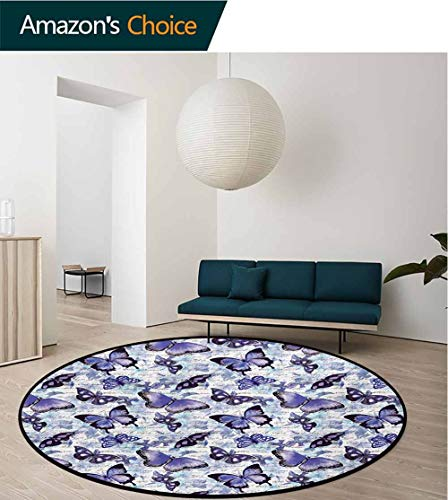 RUGSMAT Retro Round Area Rug,Old Fashioned Butterfly Moth Forms Romance Flowers Essence Beauty Picture Design Non-Slip Fabric Round Rugs for Study Room,Round-47 Inch Violet Black Baby Blue
