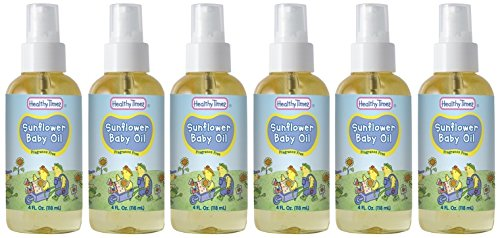 Healthy Times Sunflower Baby Oil, 4 Ounce (6 Count)