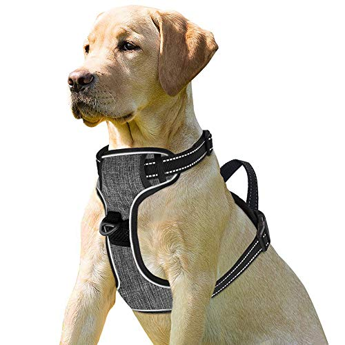Dog Harness No-Pull Pet Harness 3M Reflective Adjustable Outdoor Pet Reflective Vest Dog Walking Harness with Postpositive D-Ring Buckle for Dogs ()