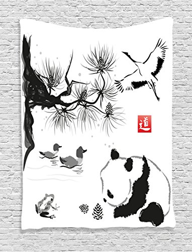 - Ambesonne Asian Decor Collection, Bird Cedar Panda Bear Traditional Japanese Painting Style Art Hieroglyph Image, Bedroom Living Room Dorm Wall Hanging Tapestry, Black White and Gray