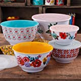 The Pioneer Woman 10-Piece Nesting Mixing Serving Bowl Set features Unique Vibrant Colors (Country Garden)