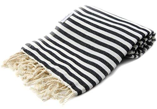 1682d2da43 Black Striped Turkish Towel - Naturally Dyed 100% Cotton - 70x39 inches - Beach  Towel