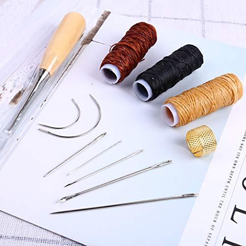 Finedayqi  Leather Sewing Needles Stitching Awl Needle Set Thread Thimble Hand Sewing Tool