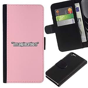 KLONGSHOP // Tirón de la caja Cartera de cuero con ranuras para tarjetas - IMAGINACIÓN ROSA - Apple Iphone 6 //