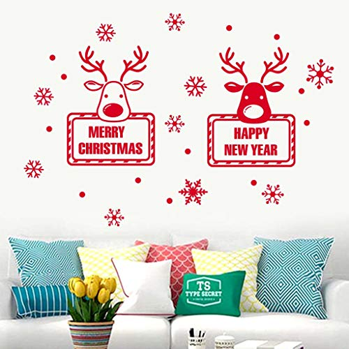 Christmas Wall Decals, Merry Christmas Snowflake Elk Antlers DIY Home Decor Glass -