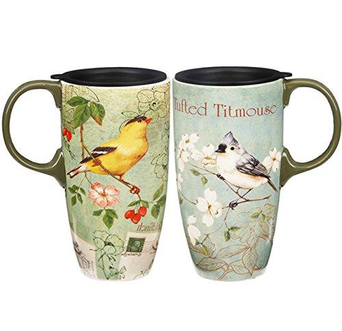 Fancy Bird (CEDAR HOME Coffee Ceramic Mug Porcelain Latte Tea Cup With Lid in Gift Box 17oz. Colorful Bird, 2 Pack)