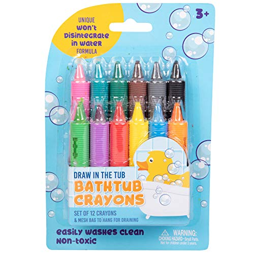 Crayon Soap - Bath Crayons Super Set - Set of 12 Draw in The Tub Colors with Bathtub Mesh Bag, Unique Won't Disintegrate in Water Formula