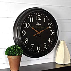 FirsTime & Co. 99512 Belmont Black Wall Clock, 17.5,