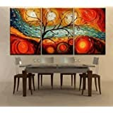 Colorful Tree Modern Abstract 100% Hand Painted Oil Painting on Canvas Wall Art Deco Home Decoration (Unstretch No Frame)