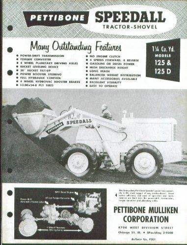 (Pettibone Speedall Tractor Shovel 125 125D sheet 50s)
