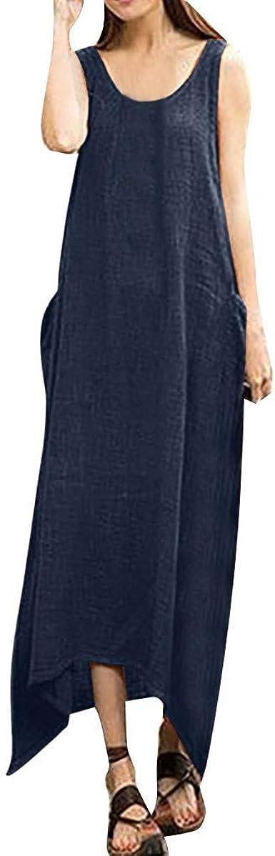 VEMOW Faldas Mujer Vestido Blusas Tops Lino de algodón sin ...
