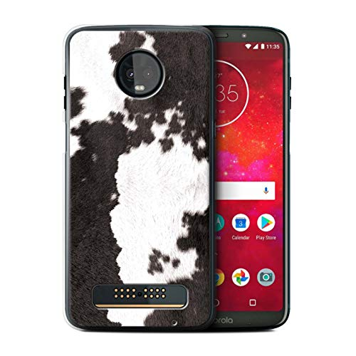 eSwish Phone Case/Cover for Motorola Moto Z3 Play 2018 / Cow/Black Design/Animal Fur Effect/Pattern Collection