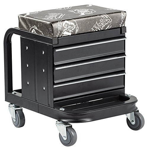 Gas Monkey Creeper Seat and Tool Box Combo - 3-Drawers Toolbox with 4 Rolling Casters - 450 Lbs Capacity by Gas Monkey (Image #1)