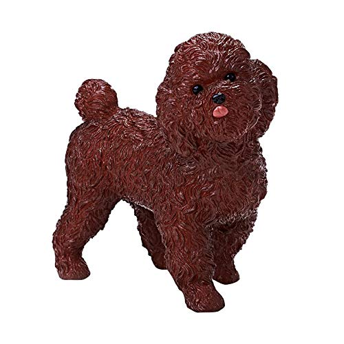 (RECUR Teddy Dog Figurine Statue for Dog Lovers, Realistic Puppy Model Dog Sculpture - Decorative Dog Décor for Yard, Garden , Home or Office , The Toy Poodle Gift Collectible for Collectors Kids Toys)